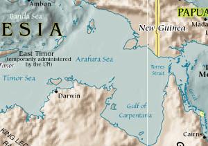 Karta över arafurasjön